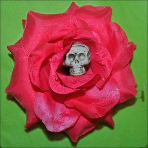 Accessories - Skull Rose Hair Clip - Hot Pink